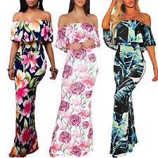 Vestito lungo abito donna spalle nude fantasia fiori balza elegante DL-2259
