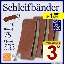 Schleifband Schleifbänder 75 x 533 mm Korn 40 60 80 100 150 180 220 280 320