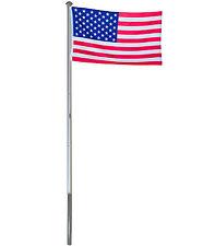 Alu Fahnenmast Flaggenmast Fahnenstange 6m / 4m + USA Fahne Flagge 150x90 cm