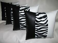 "4 White & Black Faux Leather Velboa Faux Fur Zebra Cushion Covers 16"" 18"" 20"""