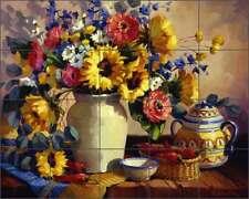 Ceramic Tile Mural Backsplash Johnston Southwest Sunflowers Peppers RW-MJA016