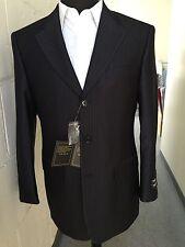 Men's 3 button Tone on Tone striped Suit Wool Feel Jacket & pants Black 38R~56L