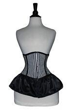 Nero Bianco in Raso Acciaio Ossa lacci schiena Cincher sotto il busto corsetto 2XS ~ 7XL