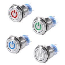 19mm 12V Auto Symbol LED Potenza Pulsante Inossidabile Interruttore Impermeabile