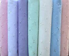 Broderie Anglais 3 Hole PolyCotton Fabric Blue White Lilac Pink Mint Peach Ivory