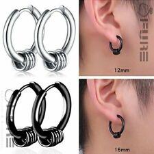 PAIR Allergy Free Surgical Steel Hippie Unisex Punk Hoop Earrings Small Circle
