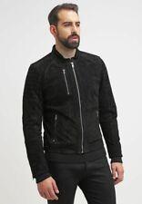 Men's Black Suede Leather Jacket Slim fit Biker Motorcycle Jacket