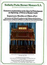 """Publicité Ancienne """" Sitheby Monaco Bureau... 1975 """""""