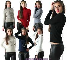 Maglione donna dolcevita lupetto costine aderente maglia pullover collo alto I41