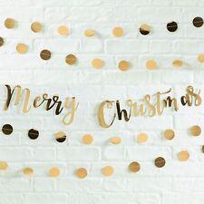 Buon Natale Gold tramite Script Bunting Banner DECORAZIONE NATALE FESTA Garland