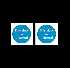 Questa porta è allarmata-plastica segno o Adesivo - 85mm x 85mm-confezione da 2
