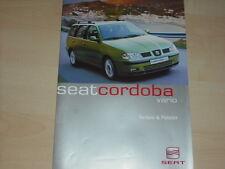 41652) Seat Cordoba Vario Farben & Polster Prospekt 08/1999