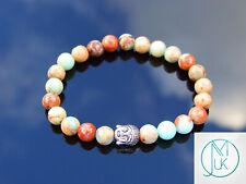 Buddha Aqua Terra Jasper Natural Gemstone Bracelet 6-9'' Elasticated Healing