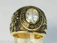 9x7 mm Knights Templar Masonic Mason April Clear CZ Stone Men Ring Size 5-15