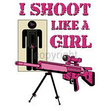 Women's Guns Ammo Shooting T Shirt I Shoot Like A Girl T Shirt Tank Top S to 3XL