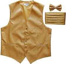 New Men's Paisley Tuxedo Vest Waistcoat & Cummerbund & Bow tie Wedding GOLD