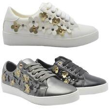Nouveau Haut Lacets Fleur Baskets cloutées Lacets Baskets Chaussures Taille UK