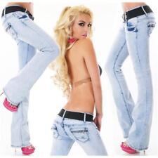 Damen Bootcut Jeans Bleached Blue mit Stretchgürtel Hellblau #H1279
