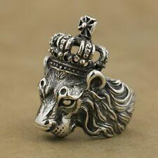 925 Sterling Silver Handmade Crown Lion King Mens Biker Rock Punk Ring TA75C