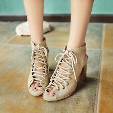 Women's Peep Toe Cross Strap Platform Pumps Block High Heels Party Shoes Plus Sz