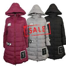 AMAVISSE UK - (RRP £30) Fashion Puffy Puffer Long Light Parka Jacket Coat Hood