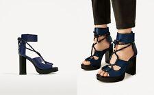 Zara Woman sandalias de cuero plataforma azul Lace up gladiador Platform Blue 40