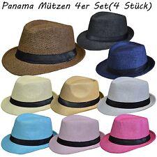 4 Stück Set Panamahut Strohhut Trilby Hut Gartenhut Hutband Sommerhut Strandhut