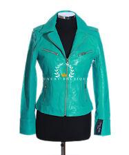 Rachel turquoise Mesdames femmes smart style vintage veste en cuir véritable mouton
