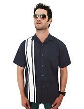 Tri-Mountain Men's Stripes Short Sleeve Twill Pocket Trendy Camp Shirt. 909