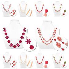 Kette Halskette Langkette Wickelkette Mehrfachkette Damen Perle Kugel Rosa Pink