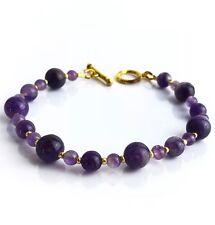 Bracelet Améthyste pierres semi-précieuses  3 tailles Pochette cadeau
