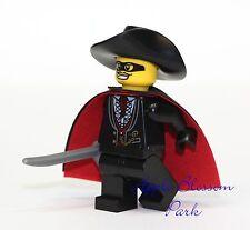 NEW Lego ZORRO MINIFIGURE - Castle Minifig w/Black Red Cape Sword & Fedora Hat