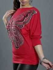 Damen Long Shirt Glitter Pailletten Schmetterling S/M 34/36 M/L 36/38 rot TOP