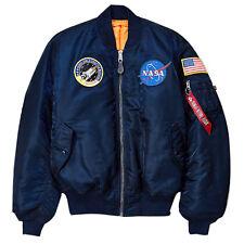 ALPHA INDUSTRIES - Mens NASA MA-1 Flight Bomber Jacket - Replica Blue
