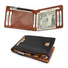 b11a76f02 Tarjeta De Cuero Cartera de hombre entallada dinero Clip de Bloqueo de RFID  ID Caso Titular de tarjeta de crédito