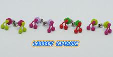 LEGO Stud Earrings - Flower & Cherry - Pink Green Purple - FREE POST