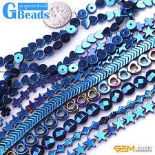 "Assorted Shapes Blue Metallic Coated Hematite Reflection Beads Free Shipping 15"""