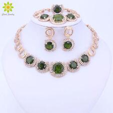 Gold Plated Green Zircon Round Necklace Rhinestone African Wedding Jewelry Sets