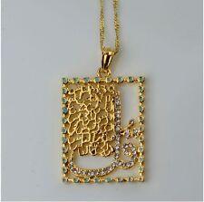 Allah Shahada Pendant Chain Necklace Islamic Crystal Muslim Arabic 18K Gold