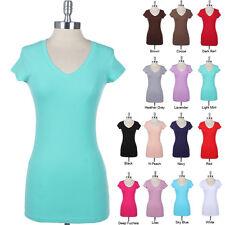 V NECK TEE SHIRT Short Sleeve Basic Plain Tunics Cotton Long TOP T-shirt S M L