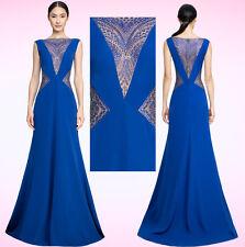 $588 Tadashi Shoji Lolita Blue Jewel Illusion Rhinestone Mesh Crepe Dress Gown 0