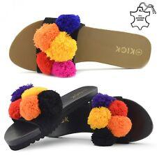 Ladies Multi Pom Pom 100% Leather Sliders Flat Strap Flip FlopsSandals