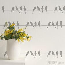 periquitos Pájaro Borde Pared / Muebles Estarcido Pintura Arte Manualidades