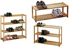 Shoe Rack Natural Walnut Wooden 2,3 or 4 Tier