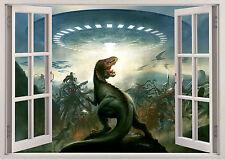 Dinosaurs T Rex Jurassic Park Space Ship 3D Window Wall View Sticker Poster Viny