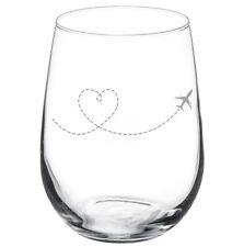 Heart Love Travel Airplane Stemmed 10oz / 20oz / Stemless Wine Glass