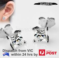 Ear Stud Earring Zirconia Square Gem Piercing Clear Stone Jewellery Single/Pair
