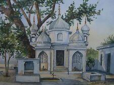 ::Hindu Tempel Gurgao Neu Delhi Indien sig. Heinrich Zubrod Aquarell dat. 1996