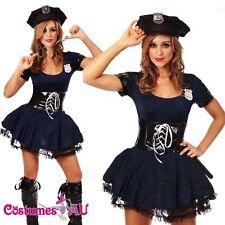 Ladies Womens Navy Blue Cop Police Costume Sexy Police Woman Uniform Fancy Dress