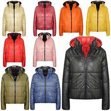 Chaquetas Niñas Niños Reversible Recortada Con Capucha Acolchado Puffer Chaqueta abrigos